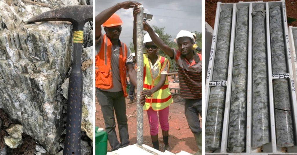 pegmatite, geological team, samples