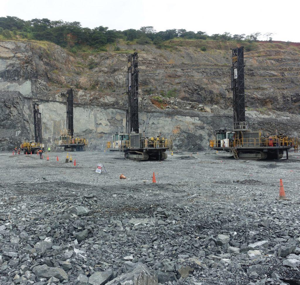 Blast hole drilling in Tanzania